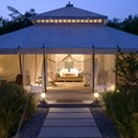 A picture of Aman-i-Khás Tent Exterior at Dusk on a luxury Greaves India Holiday