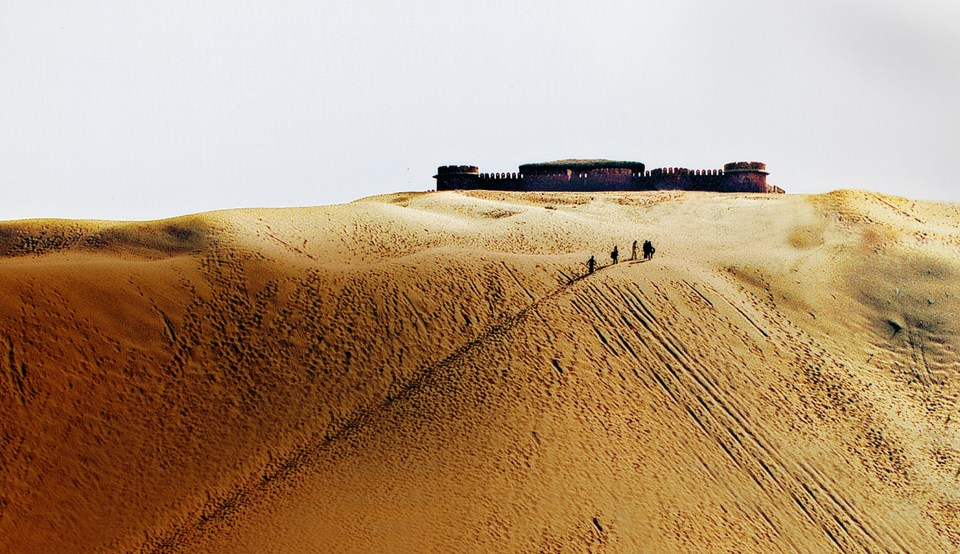 Picture of the Osian Camel Camp taken on a luxury holiday to India with Greaves India